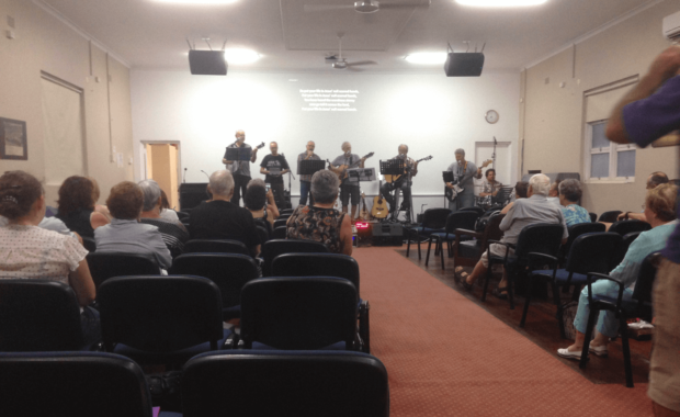 Band playing on finished stage West Ryde Family Church - The Right Builder1280c