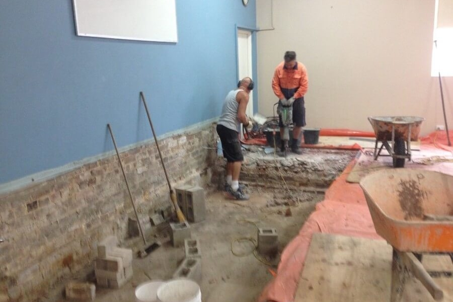 Jack Hammering concrete from old stage West Ryde Family Stage-The Right Builder900c