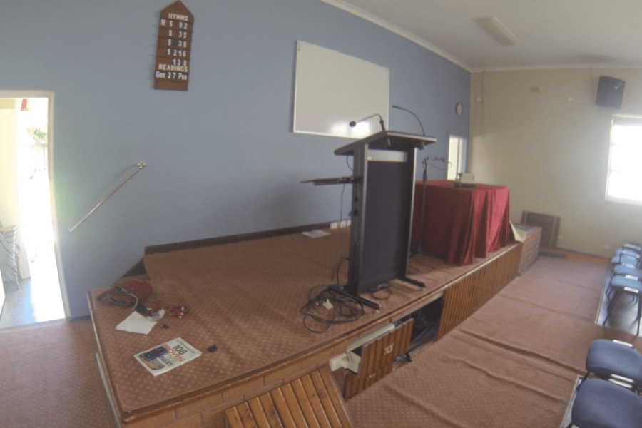 Old Stage Area to be renovated at West Ryde Family Church - The Right Builder900c